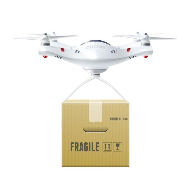 Беспилотный дрон с коробкой Бесплатные векторы