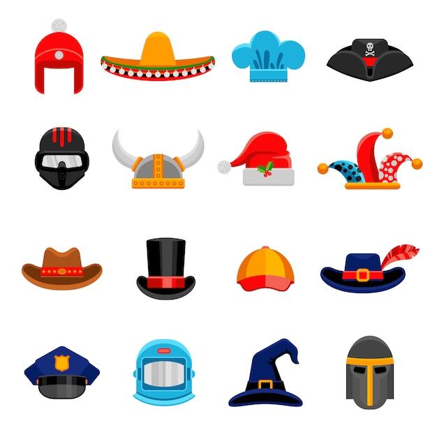 面白い帽子フラットアイコンセット 無料ベクター