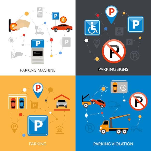 Набор иконок для парковки Бесплатные векторы