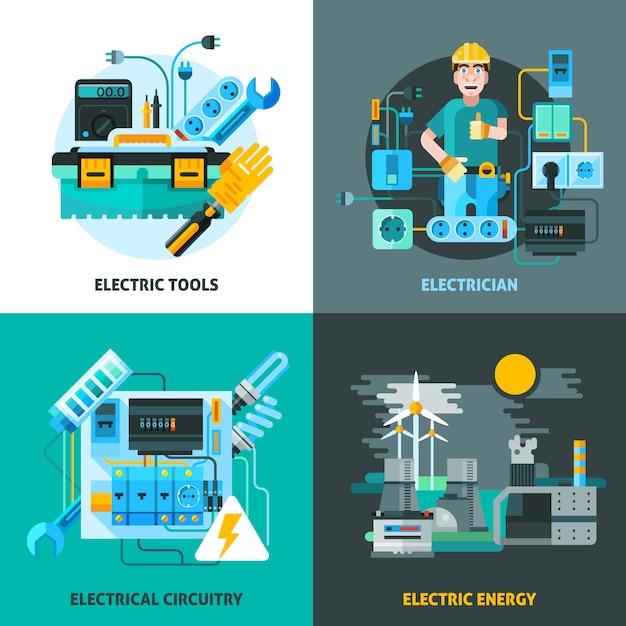 電気の概念のアイコンを設定 無料ベクター