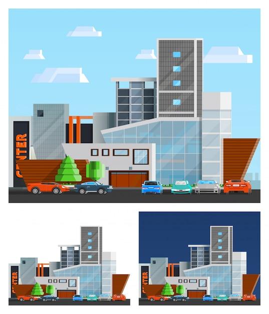 ショッピングモールの建物構成セット 無料ベクター
