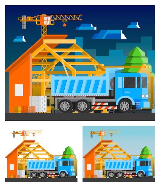 Набор строительных композиций Бесплатные векторы