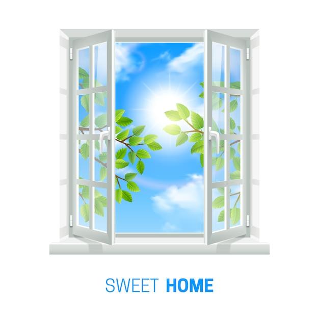 明るく晴れた日に白い窓を開く 無料ベクター