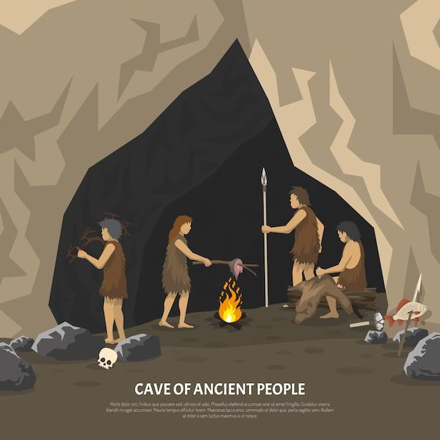 Иллюстрация доисторической пещеры Бесплатные векторы