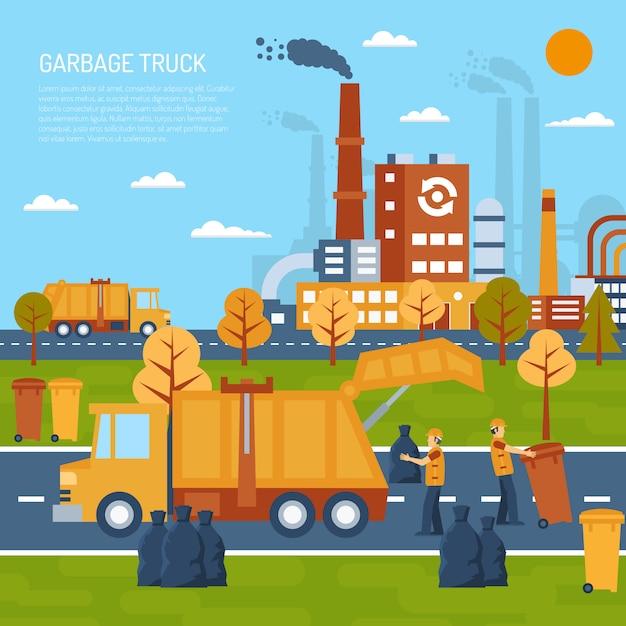 Концепция мусоровоза Бесплатные векторы