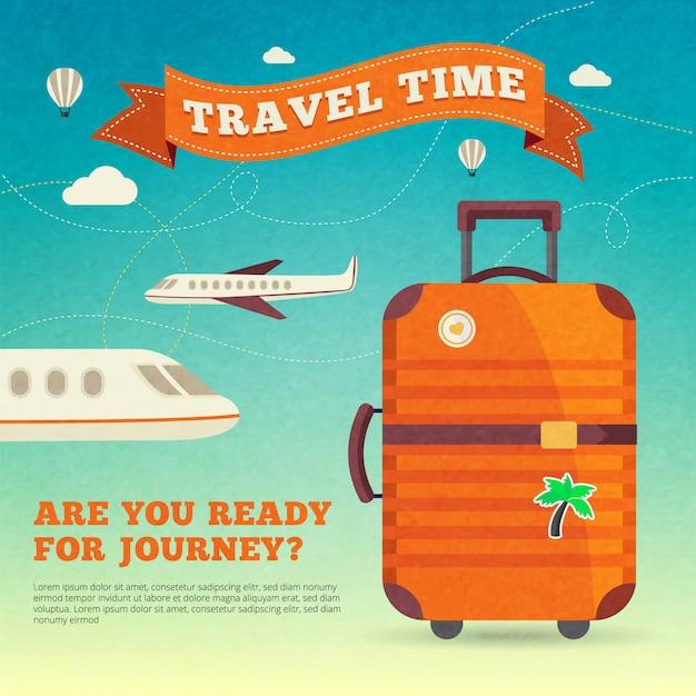 Современный туристический багажный плакат Бесплатные векторы