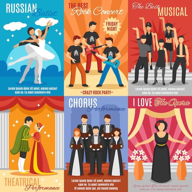 Набор плоских театральных плакатов Бесплатные векторы