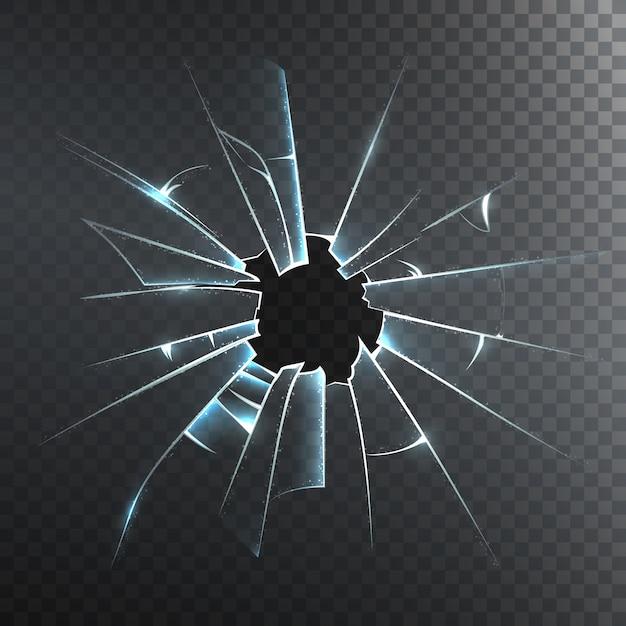 壊れた曇りガラスのリアルなアイコン 無料ベクター