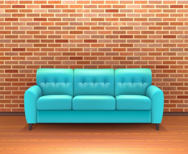 現実的なソファとレンガの壁のインテリア 無料ベクター