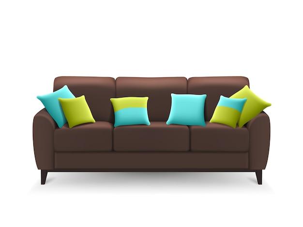Коричневый реалистичный диван с декоративными подушками Бесплатные векторы
