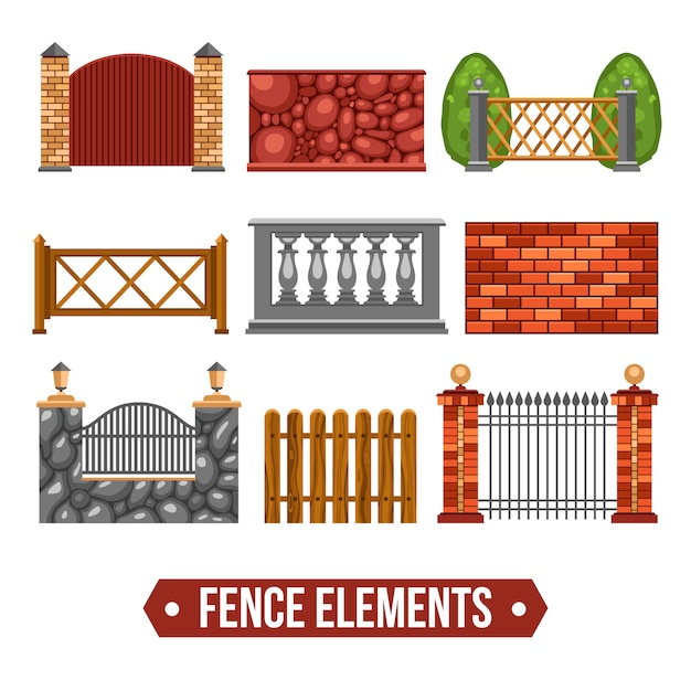 フェンスデザイン要素セット 無料ベクター