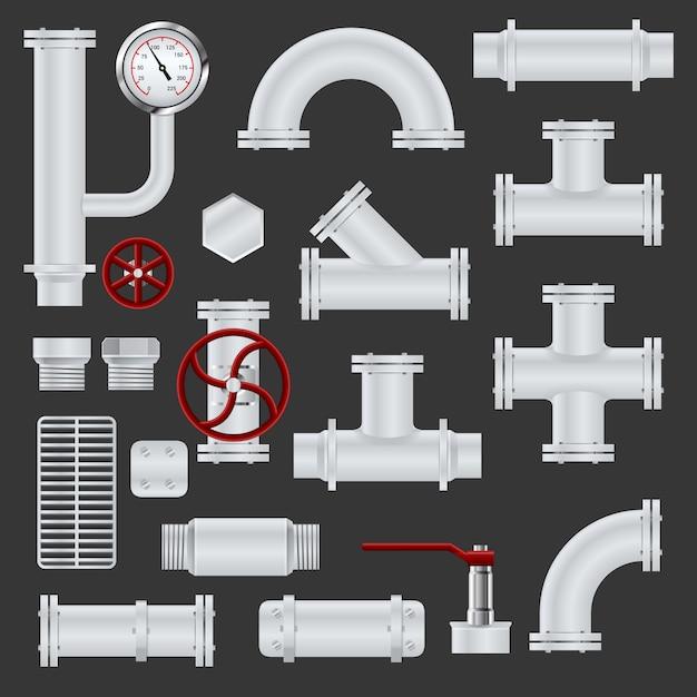 Реалистичные элементы трубопровода Бесплатные векторы