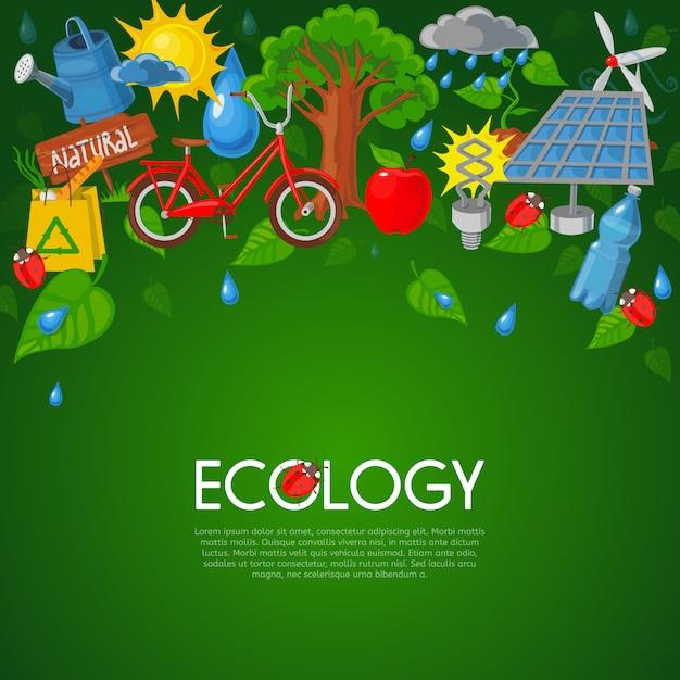エコロジーフラットイラスト 無料ベクター
