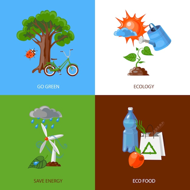 エコロジーデザインコンセプト 無料ベクター