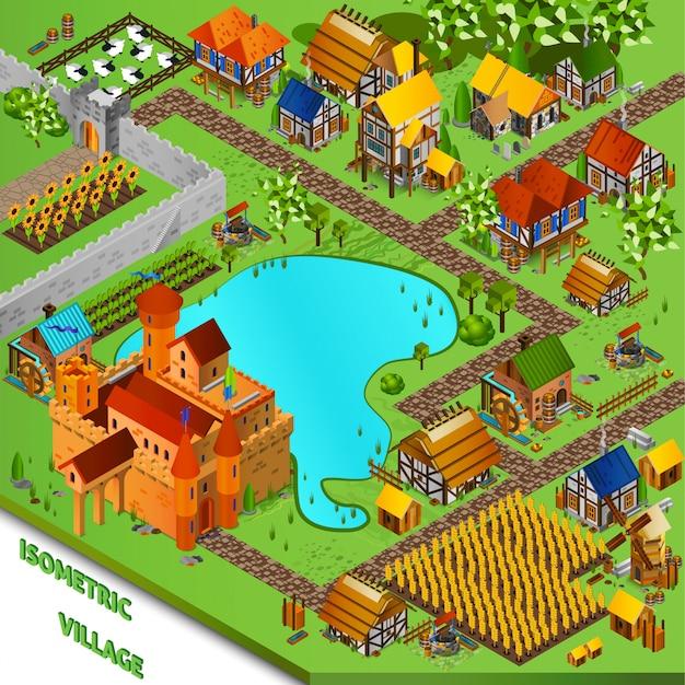 中世の村の等角投影図 無料ベクター