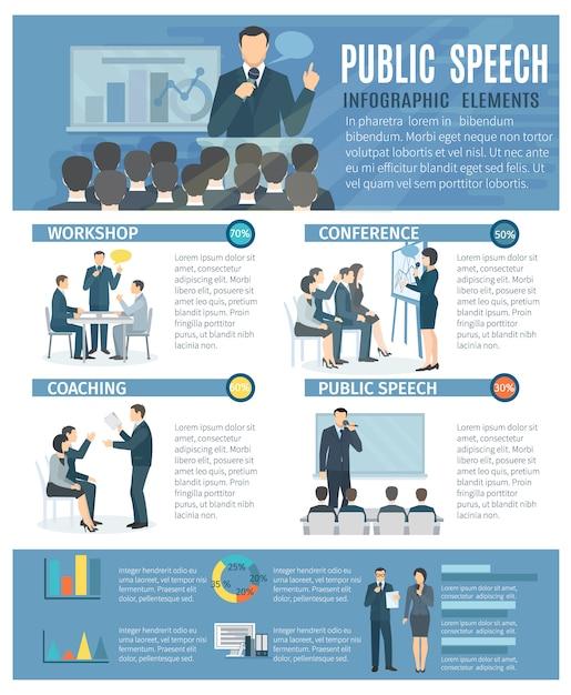 ワークショップのコーチングを持つ公のスピーチインフォグラフィック要素 無料ベクター