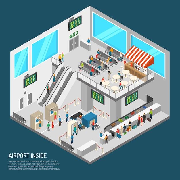 Внутри аэропорта изометрические плакат Бесплатные векторы