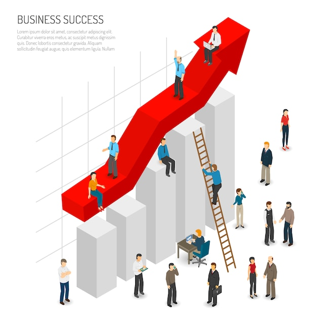 ビジネス成功の人々ポスター 無料ベクター
