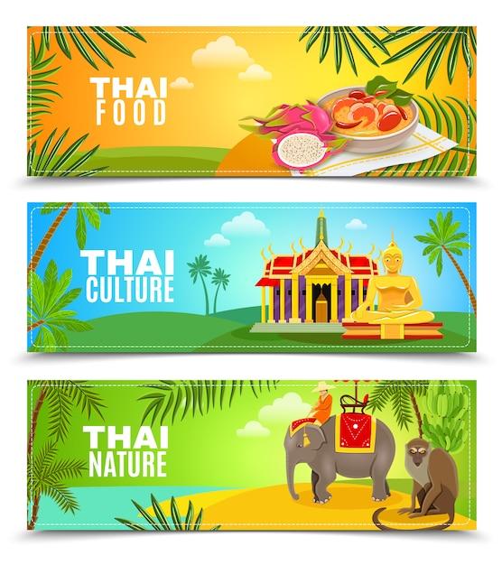 Горизонтальные баннеры таиланда Бесплатные векторы