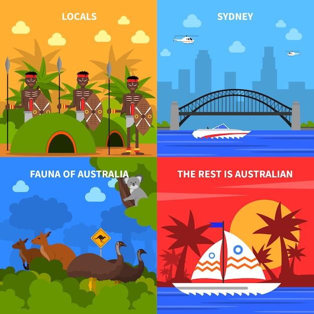 オーストラリアの概念のアイコンを設定 無料ベクター
