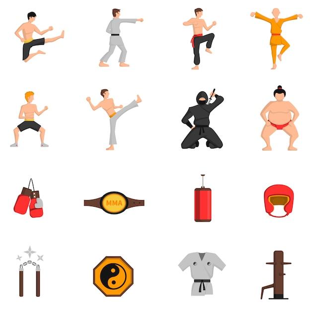 Набор иконок боевых искусств Бесплатные векторы