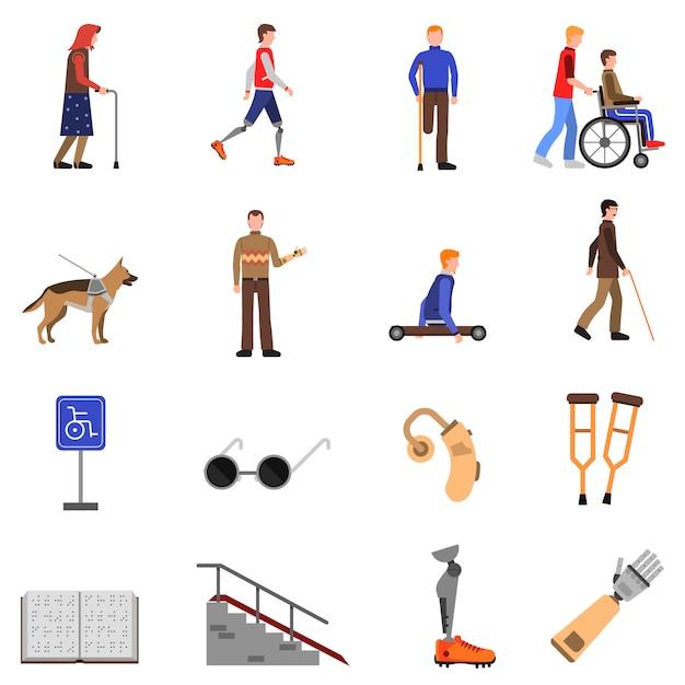 Набор для людей с ограниченными возможностями плоских иконок Бесплатные векторы
