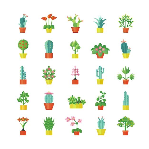 観葉植物フラットアイコンセット 無料ベクター