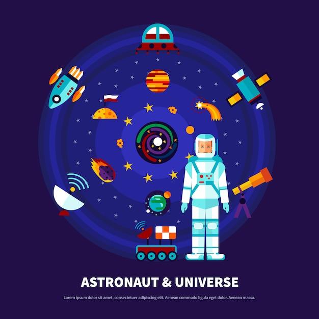 宇宙飛行士と宇宙セット 無料ベクター