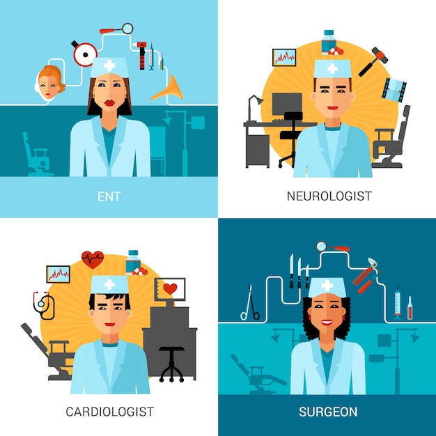 Набор концептуальных врачей Бесплатные векторы