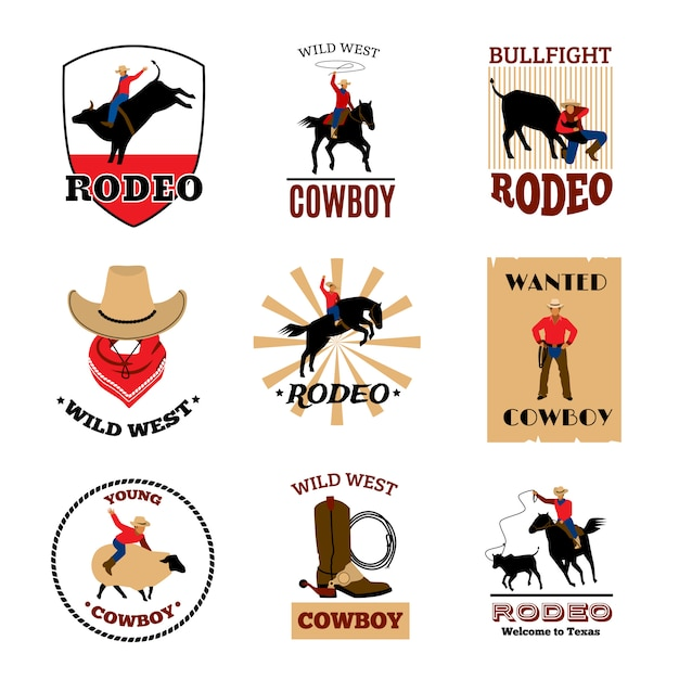 マスタング乗馬と闘牛からのカウボーイロデオゲーム 無料ベクター