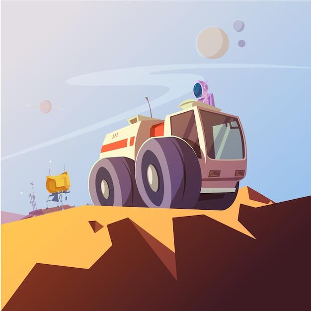 Исследовательский автомобиль и космонавт мультяшный фон с космонавтом оборудования векторная иллюстрация Бесплатные векторы