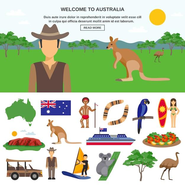 オーストラリア旅行の概念 無料ベクター