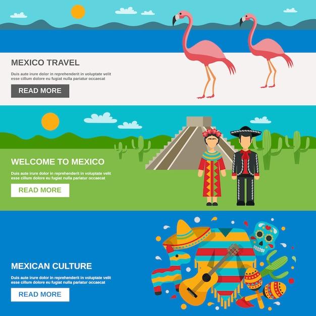 Набор баннеров для мексики Бесплатные векторы