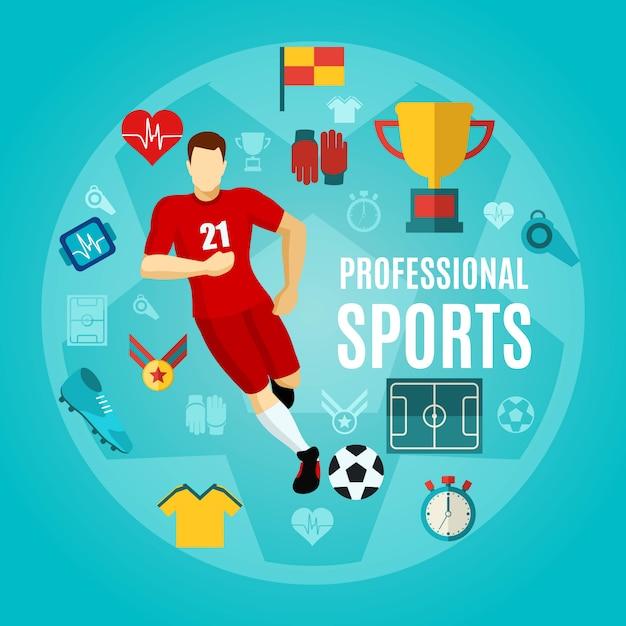 Профессиональный спортивный плоский набор иконок Бесплатные векторы