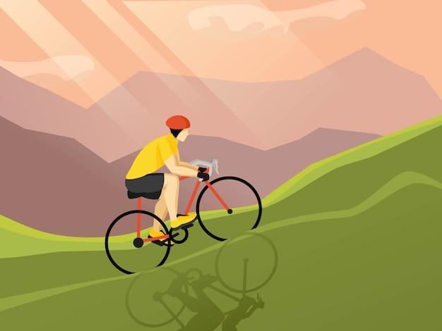 Велосипедист плоский плакат Бесплатные векторы