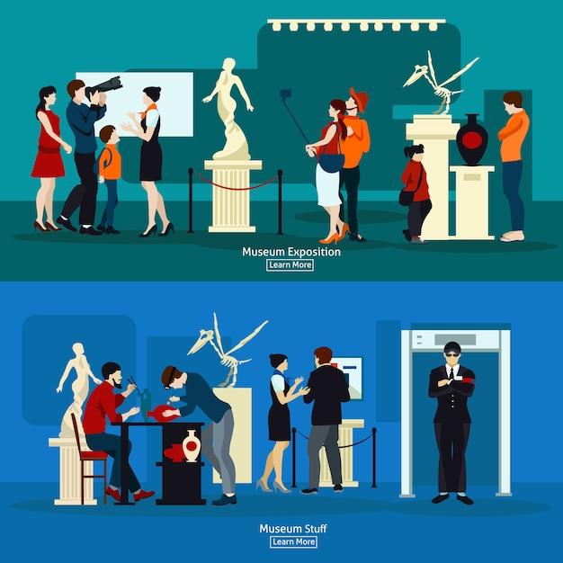 Экспозиция музея и галереи Бесплатные векторы