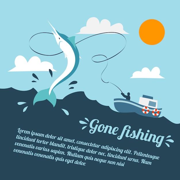 Плакат с рыбацкой лодкой Бесплатные векторы