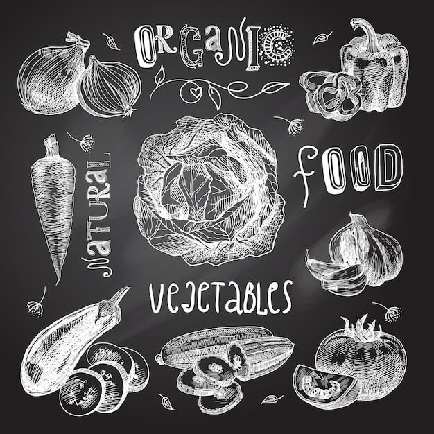 野菜スケッチセット黒板 無料ベクター