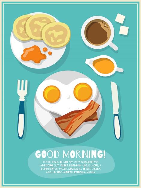 朝食アイコンポスター 無料ベクター