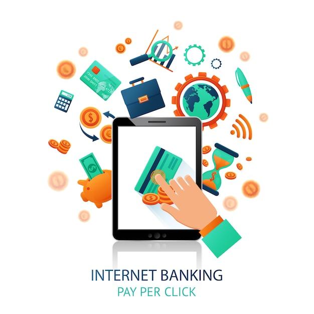 Приложение для интернет-банкинга Бесплатные векторы