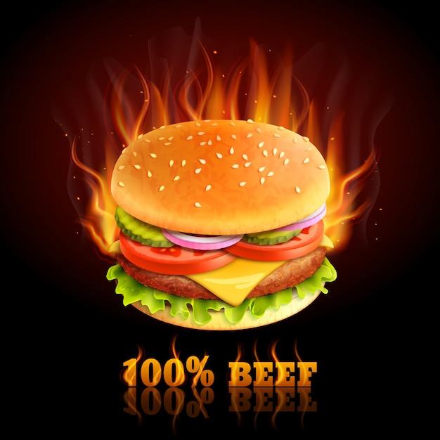 ビーフハンバーガーの背景 無料ベクター
