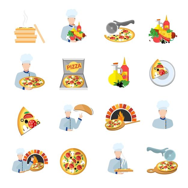 Набор иконок для пиццы Бесплатные векторы
