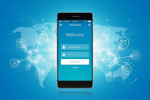スマートフォンソーシャルネットワーク 無料ベクター