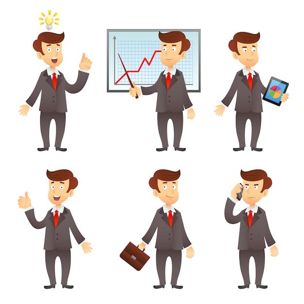 ビジネスマンの漫画のキャラクター 無料ベクター
