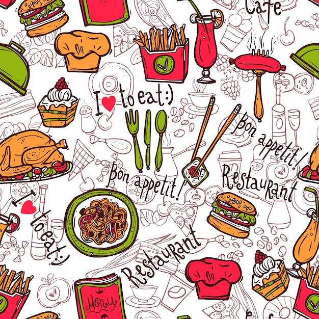 レストランのシンボルのシームレスなパターン落書きスケッチ 無料ベクター