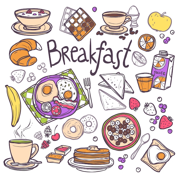 Набор иконок для завтрака Бесплатные векторы