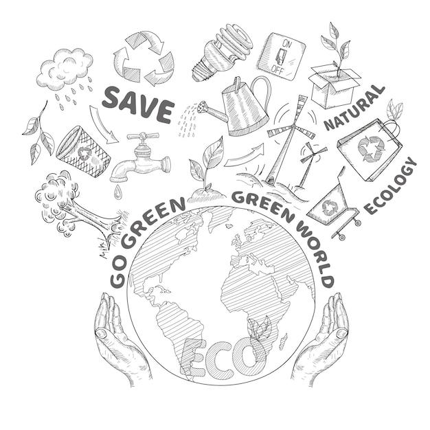両手と地球環境を守る 無料ベクター