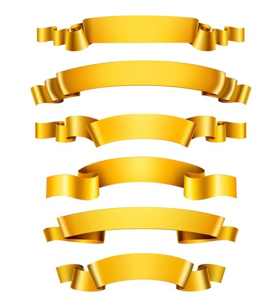 Реалистичные золотые ленты Бесплатные векторы