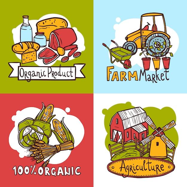 Концепция дизайна сельского хозяйства Бесплатные векторы