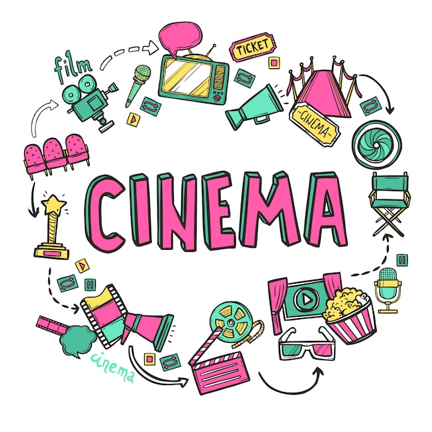 Концепция дизайна кино Бесплатные векторы